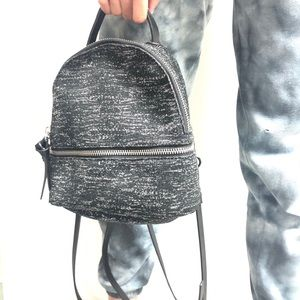 Black metallic mini backpack